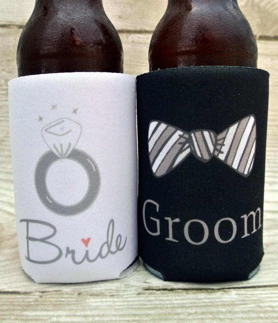 Bride And Groom Wedding Can Cooler Set Engagement Gift Shower Custom Beer Hugger Beverage Insulators