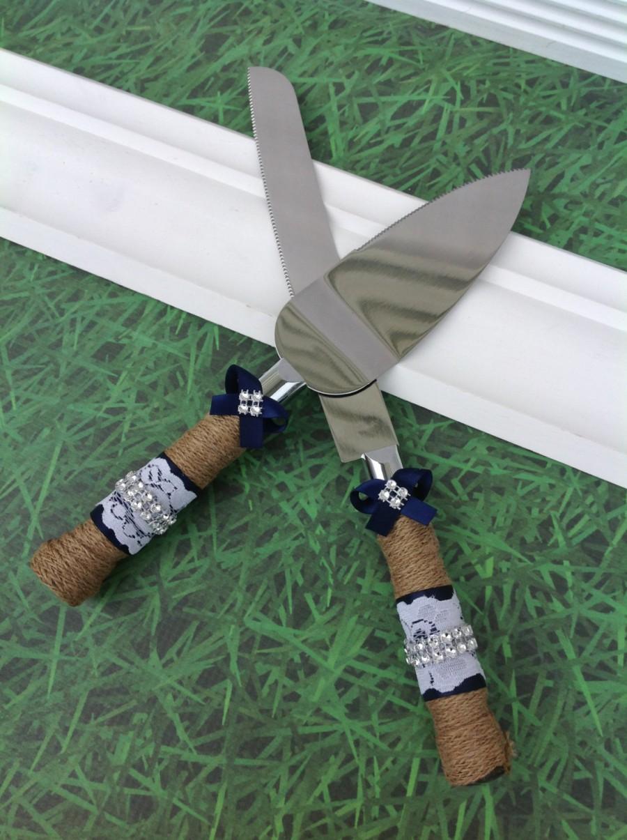 Navy Wedding Cake Knife Set Burlap Knife Set Cake Cutting