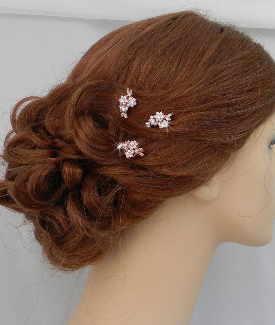 Свадьба - Rose Gold Bridal Hair pins, Bridal Hair comb, Vintage style hair pins, Swarovski crystal hair clip, Rhinestone hair comb, Piper Hair Pins