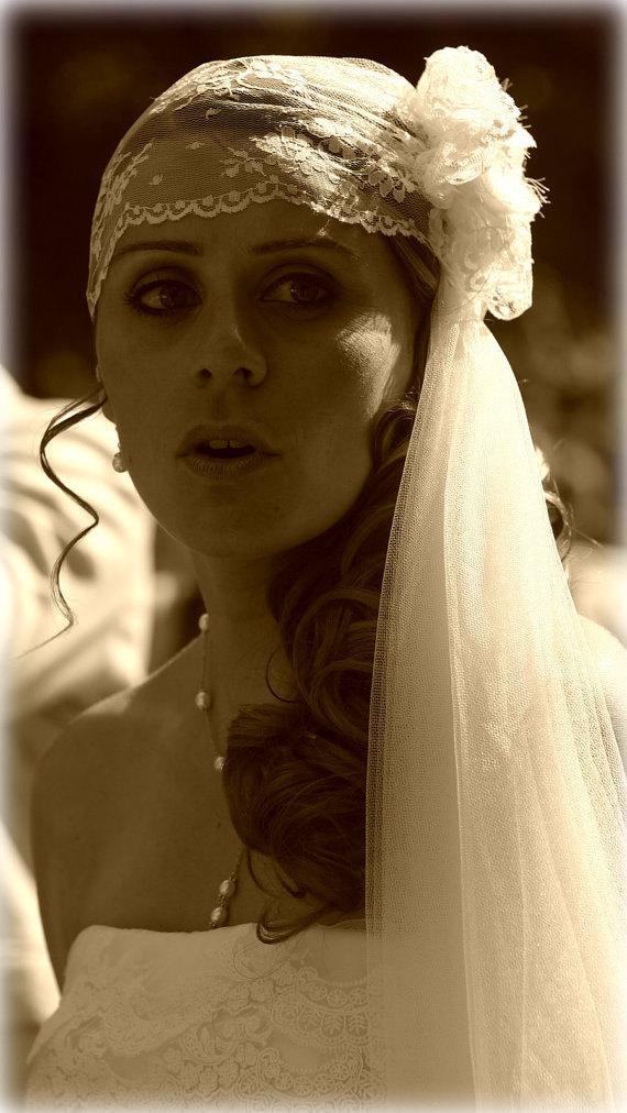 Mariage - Wedding Veil Hat Chantilly Lace Vintage Style Bridal Veil Cap