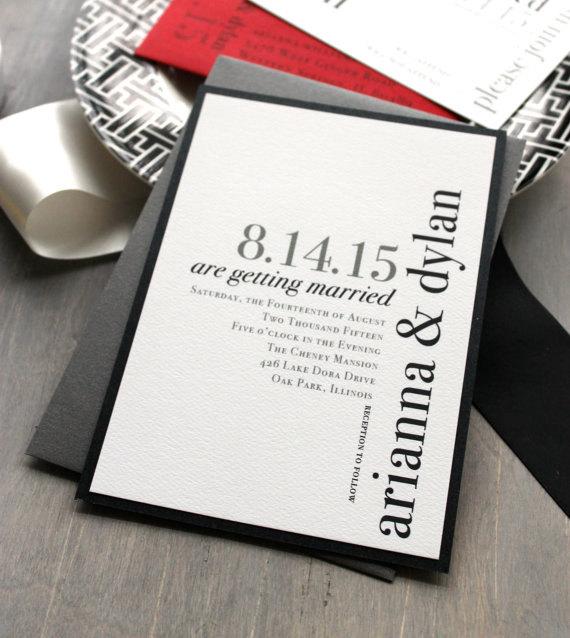 Modern Wedding Invitations Invitation Black And White Urban Elegance Sample