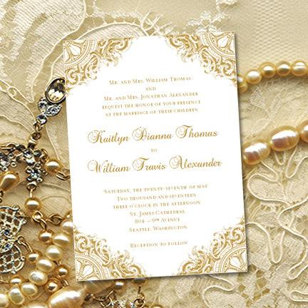 Gold Vintage Wedding Invitations Or Th Wedding Anniversary - Wedding invitation templates: golden wedding anniversary invitations templates