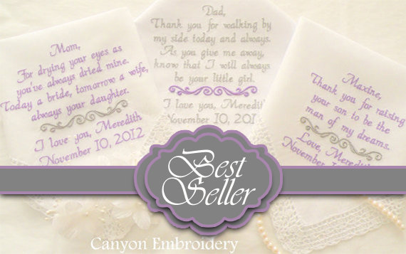 Свадьба - Best Seller, Pinterest Favorite, Embroidered Wedding Hankerchiefs, Wedding Gift, Set of Three By Canyon Embroidery