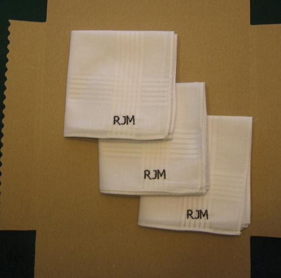 Mariage - Monogrammed embroidered mens hankies, cotton hankerchiefs,personalized,groomsmen gifts