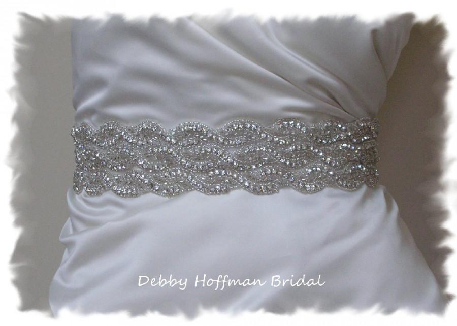 Bridal sash 19 inch beaded wedding dress belt rhinestone for Wedding dress sashes with crystals