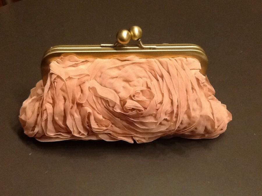Mariage - Dusty Rose Chiffon Clutch