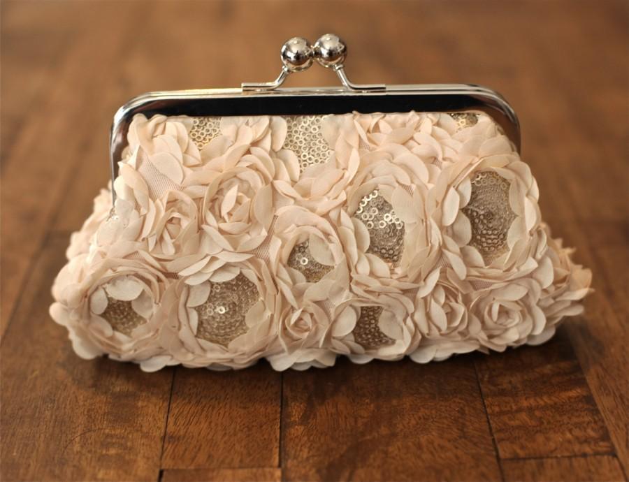 Mariage - Sale - Rosette Cream Chiffon Sequin Clutch