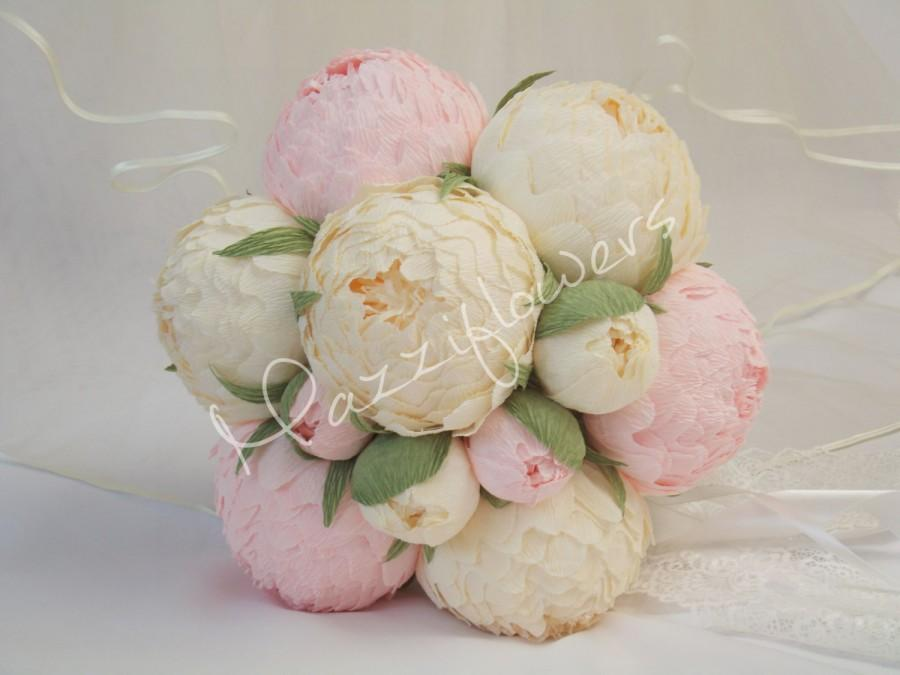 Hochzeit - Bridal bouquet,wedding bouquet,paper flower bouquet,paper flower peony,peonies ivory,pale pink peony,bridal flower,bouquet