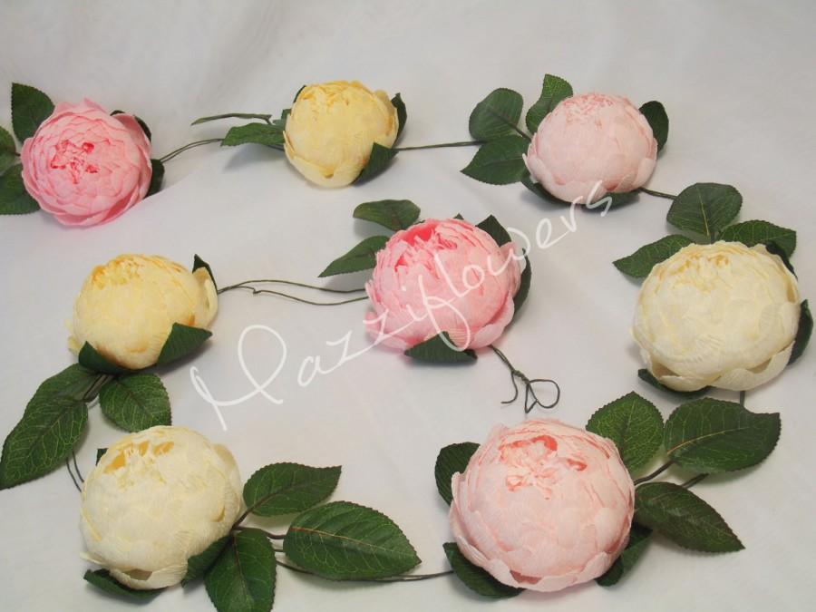 Hochzeit - Bridal garland,wedding garland,paper flower garland,peonies paper flower, salmon, raspberry,party garland,paper flower decor