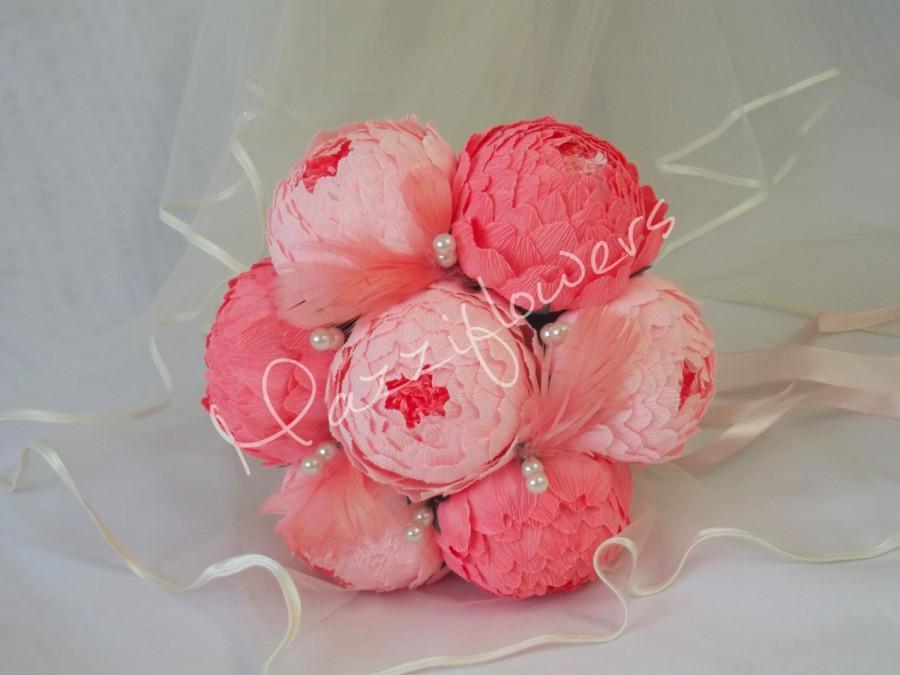 Mariage - Wedding bouquet, Bridal bouquet,paper flower bouquet,wedding peony,salmon-raspberry,paper flowers,bridal flower,peonies bouquet,