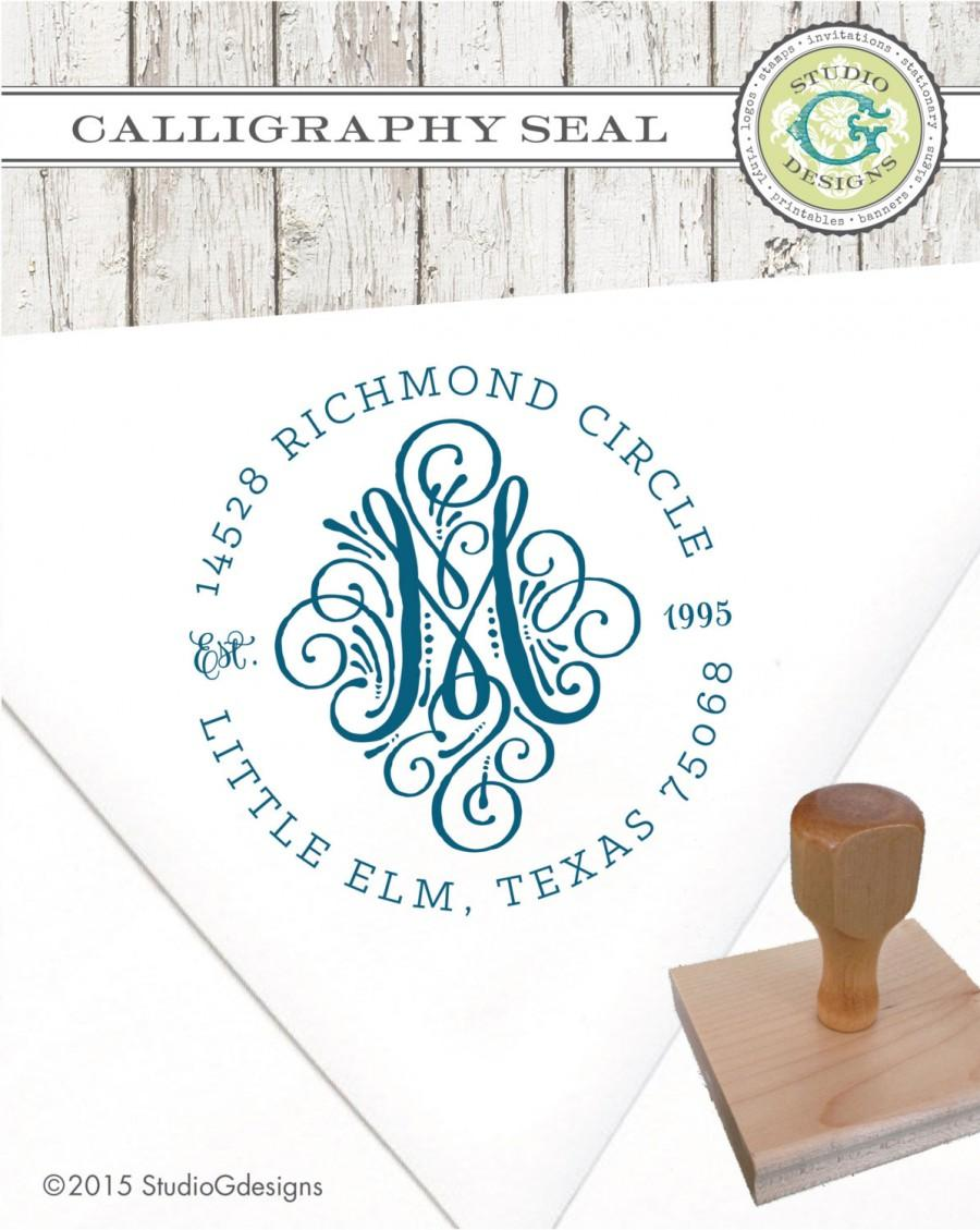 Hochzeit - Return Address Stamp - 2 in CALLIGRAPHY SEAL INITIAL Monogram Personalized Wedding Paper Goods