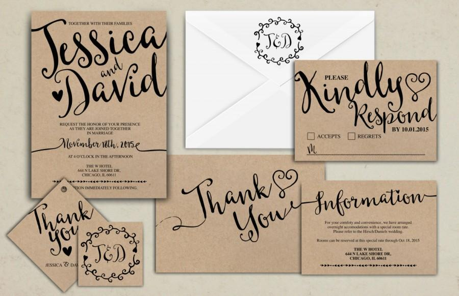 Wedding invitation printable kraftwedding invitation suite rsvp wedding invitation printable kraftwedding invitation suite rsvp monogram info card hand lettered typography theme stopboris Images