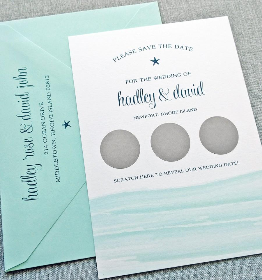 Hochzeit - Hadley Watercolor Waves Scratch Off Save the Date Sample