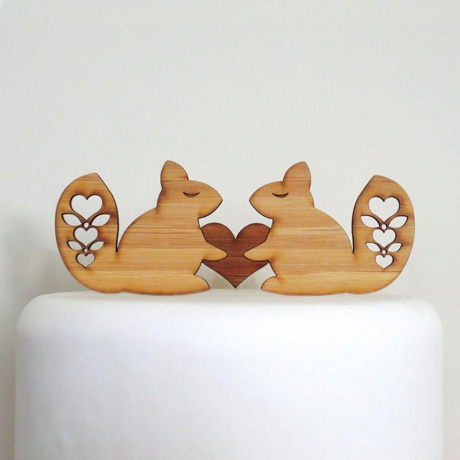 Mariage - Cute Squirrels Cake Topper - Bamboo - Wedding Cake Topper - Rustic Wedding - Modern Wedding