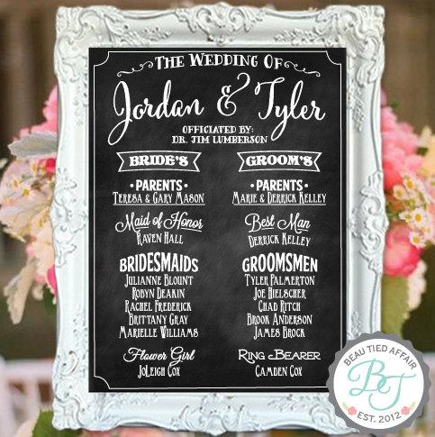 "Свадьба - Wedding Program Chalkboard Sign  (18"" x 24"")"
