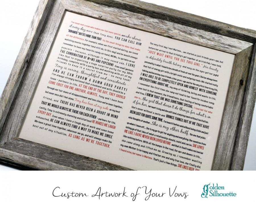 FRAMED Wedding Vows Rustic Barnwood Frame One Year Anniversary Personalize