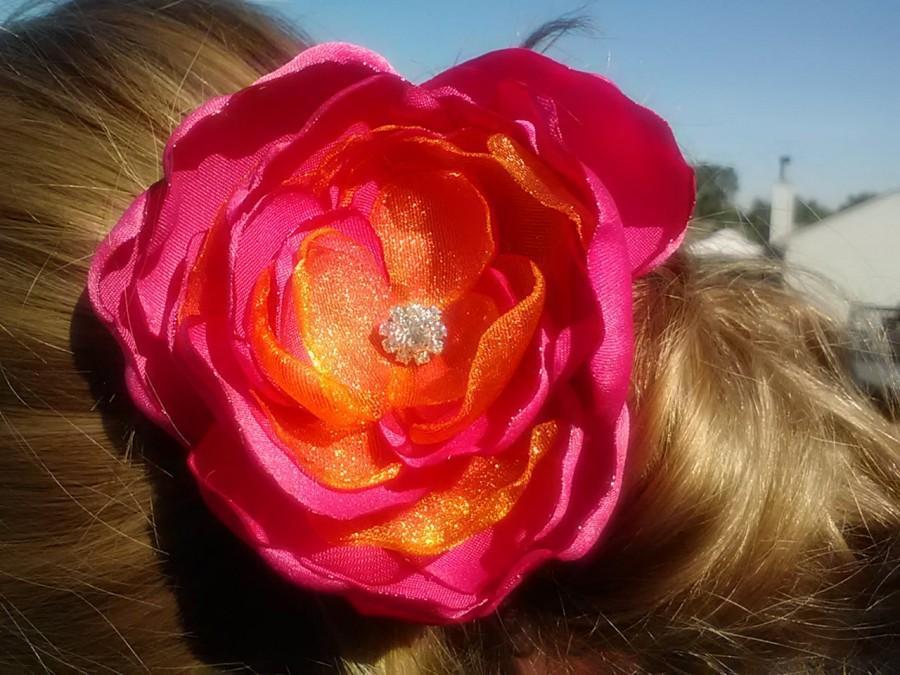 Mariage - Tropical Fantasy Rose, pink and orange rose, satin and organza rose, hair flower, hot pink flower