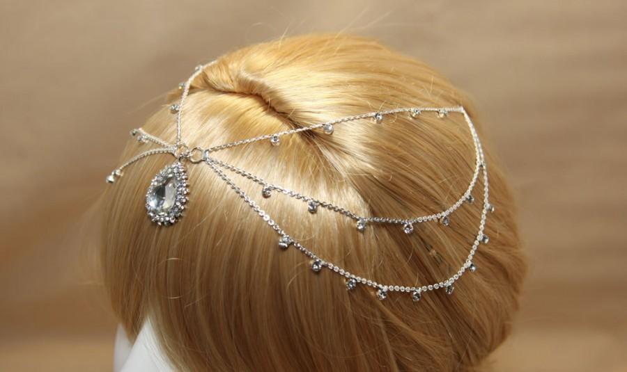 Свадьба - Gold/Silver tone Wedding Head Chain, Rhinestone Crystal Draping Head Chain Pageant, Gold/Silver Hair Chain, Crystal Teardrop Hair Wrap
