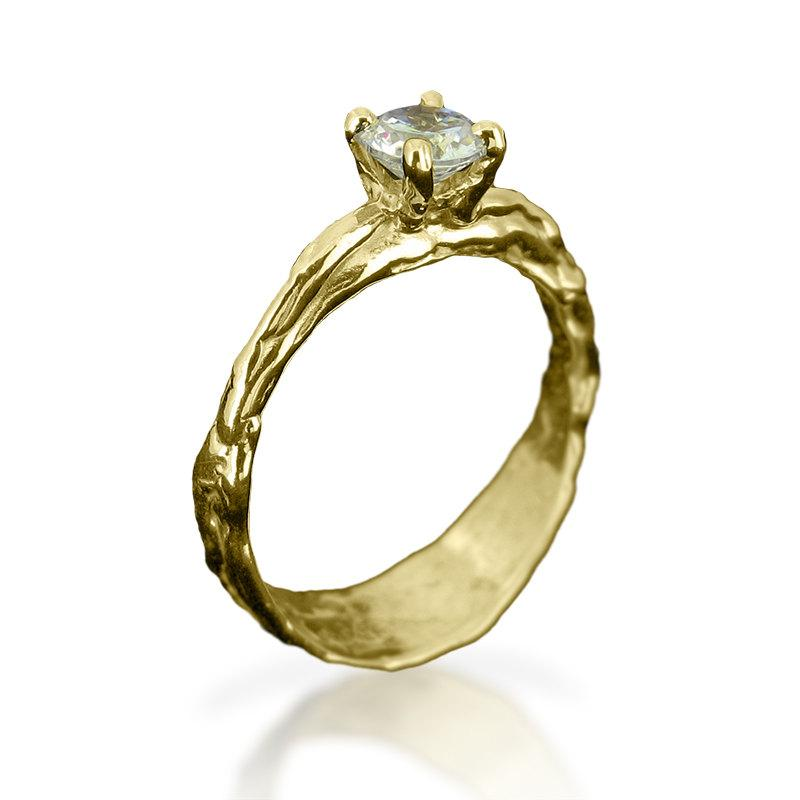 Diamond Ring For Women Organic Gold Ring Solitaire Diamond Ring