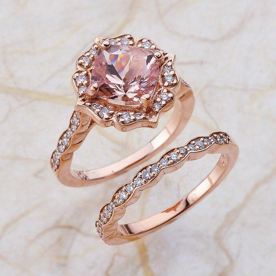 vintage bridal set morganite engagement ring and scalloped diamond wedding band in 14k rose gold 8x8mm cushion pink morganite - Pink Wedding Rings