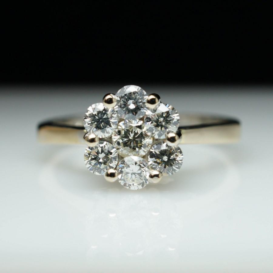 Vintage Flower Engagement Ring Cluster Engagement Ring Vintage Jewelry 14k  Yellow Gold Engagement Ring Flower Ring Band