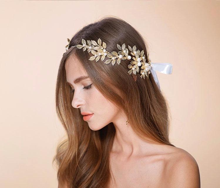 Bridal Hair Vine Rhinestone Headpiece Head Chain Headband Gold Nature Inspired Wedding Accessory Weddings