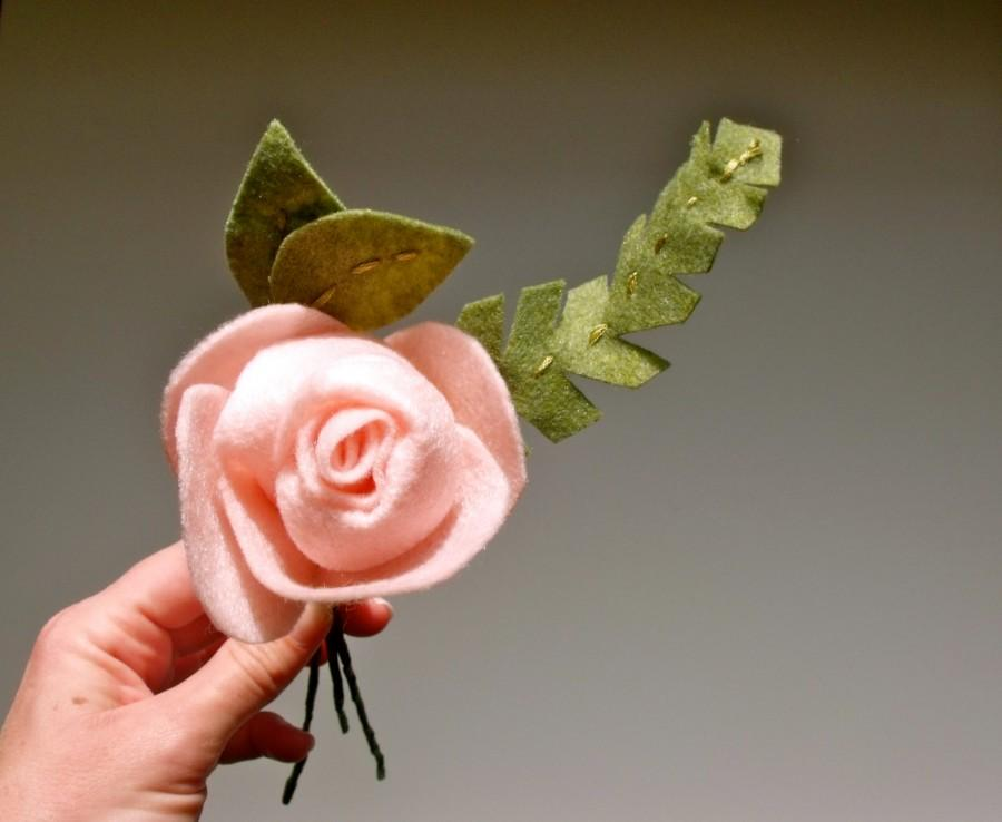 Mariage - felt rose with felt greenery for felt bouquet or floral arrangement, eco friendly // felt flower for Mother's Day or Get Well gift