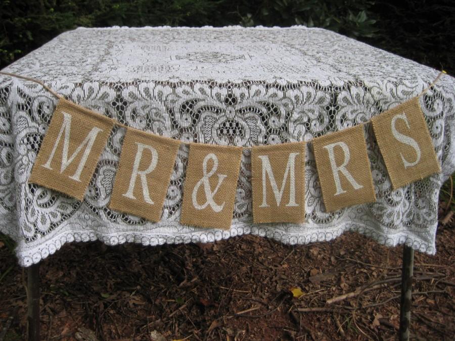 Свадьба - Mr. and Mrs. Burlap Sign Rustic Wedding Decor Banner