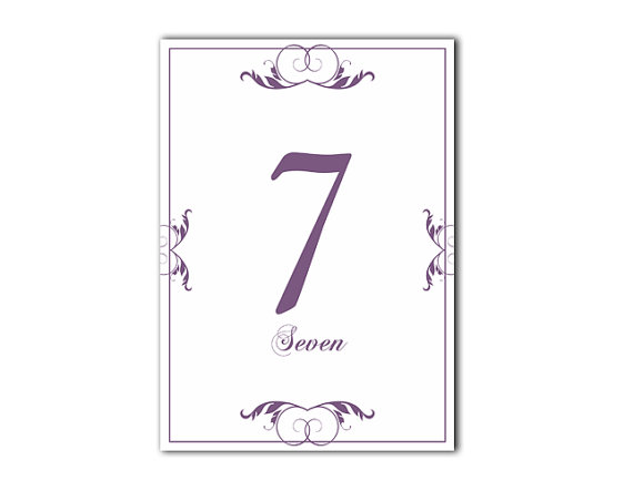 table numbers wedding table numbers printable table cards download elegant table numbers purple. Black Bedroom Furniture Sets. Home Design Ideas