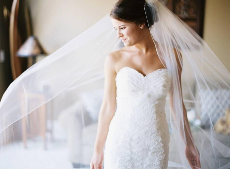 """Mariage - Chapel length wedding veil, made to order, (90""""-107"""" long) Pencil edging, wire comb.  In White, Ivory, or Diamond White Bridal Illusion"""