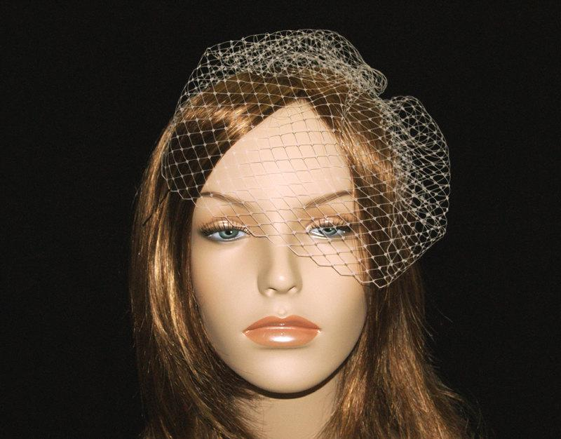 Mini Bridal Birdcage Veil Ready To Ship Modern Retro Bird Cage Short Blusher Ivory White Black Blush Pink Champagne Navy Blue
