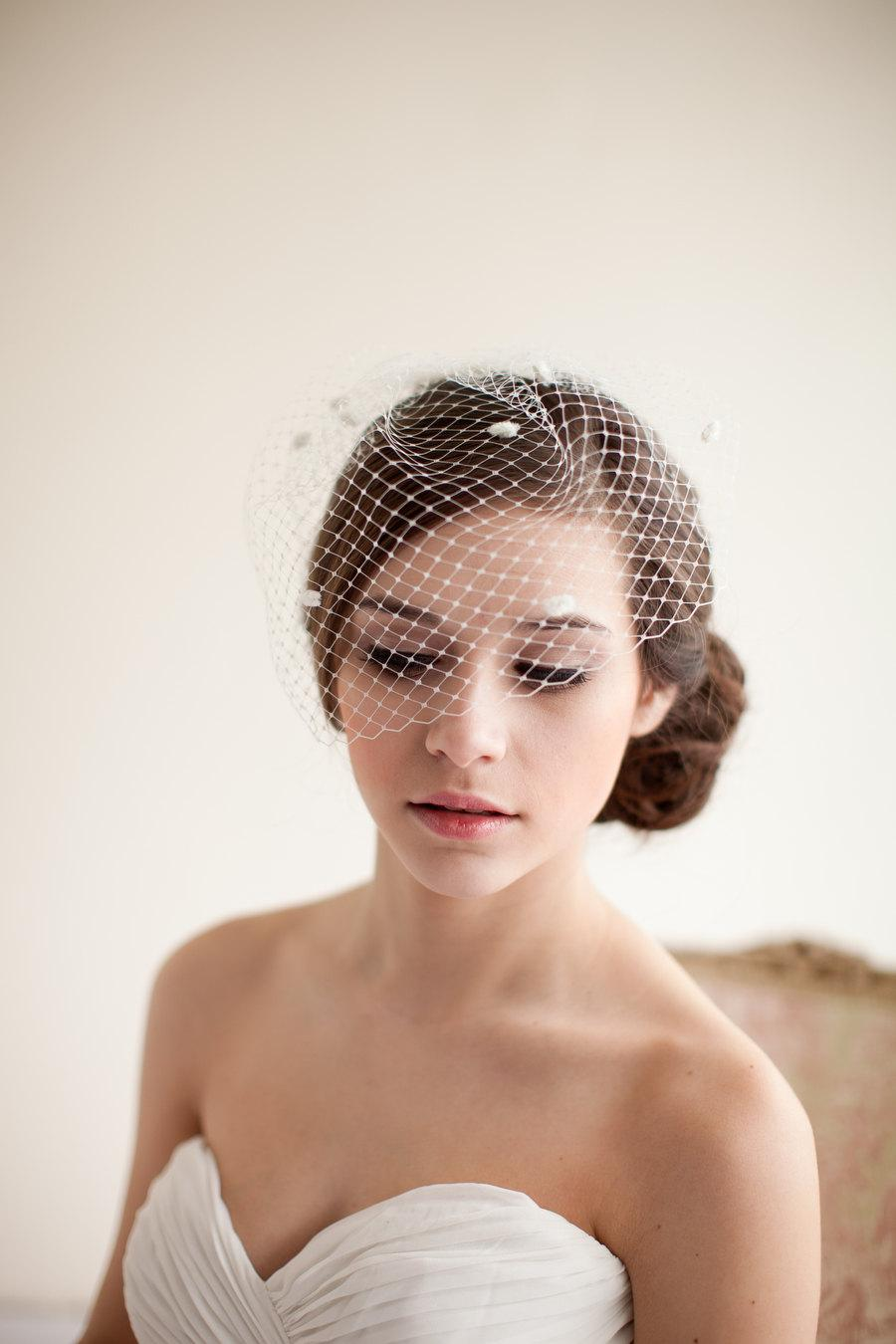 Mariage - Birdcage Veil, Dotted Birdcage Veil, Blusher Veil, Mini Birdcage Veil, Wedding Veil, Polka Dot Veil - Marilyn  MADE TO ORDER