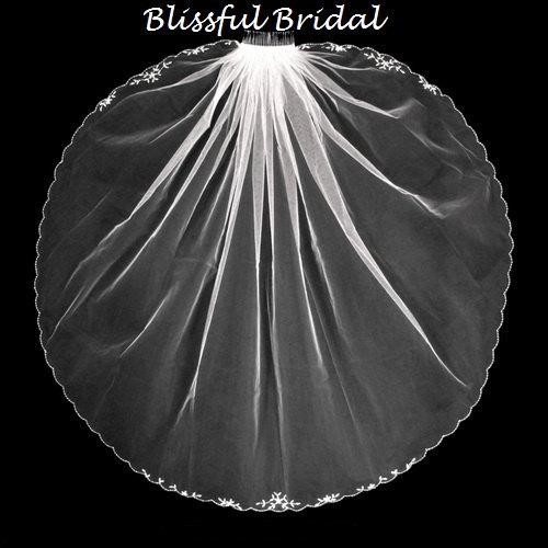 Mariage - Wedding Beaded Edge Veil, Bridal Rhinestone Edge Veil, Fingertip Wedding Veil, Beaded Edge Veil, Rhinestone Edge Veil