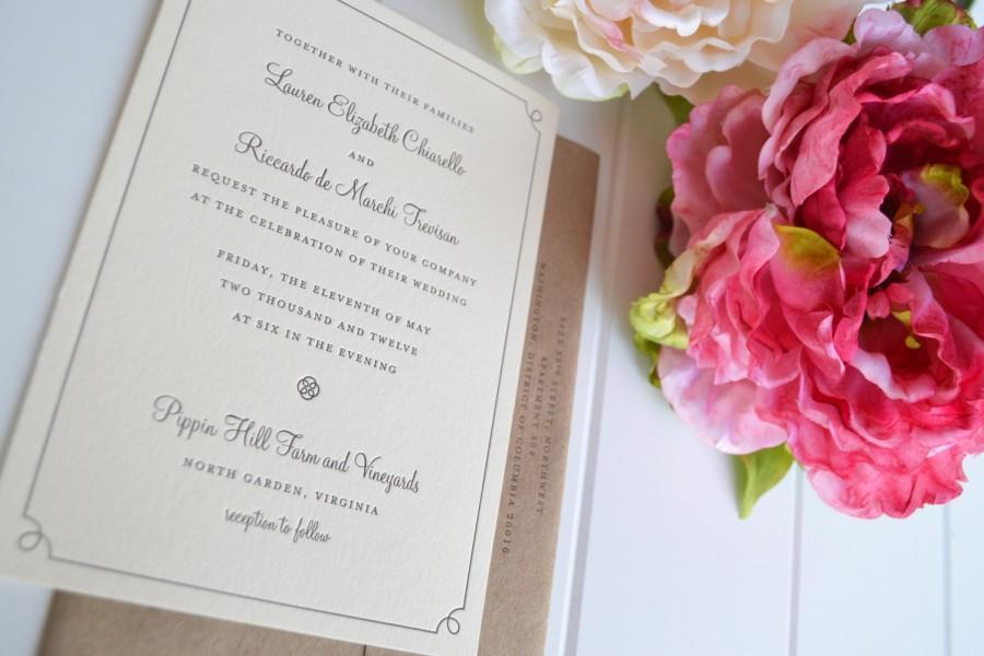 Mariage - Classic Border Wedding Invitation - JPress Designs, letterpress, simple, border, modern, popular, border, custom, design, die cut, pattern