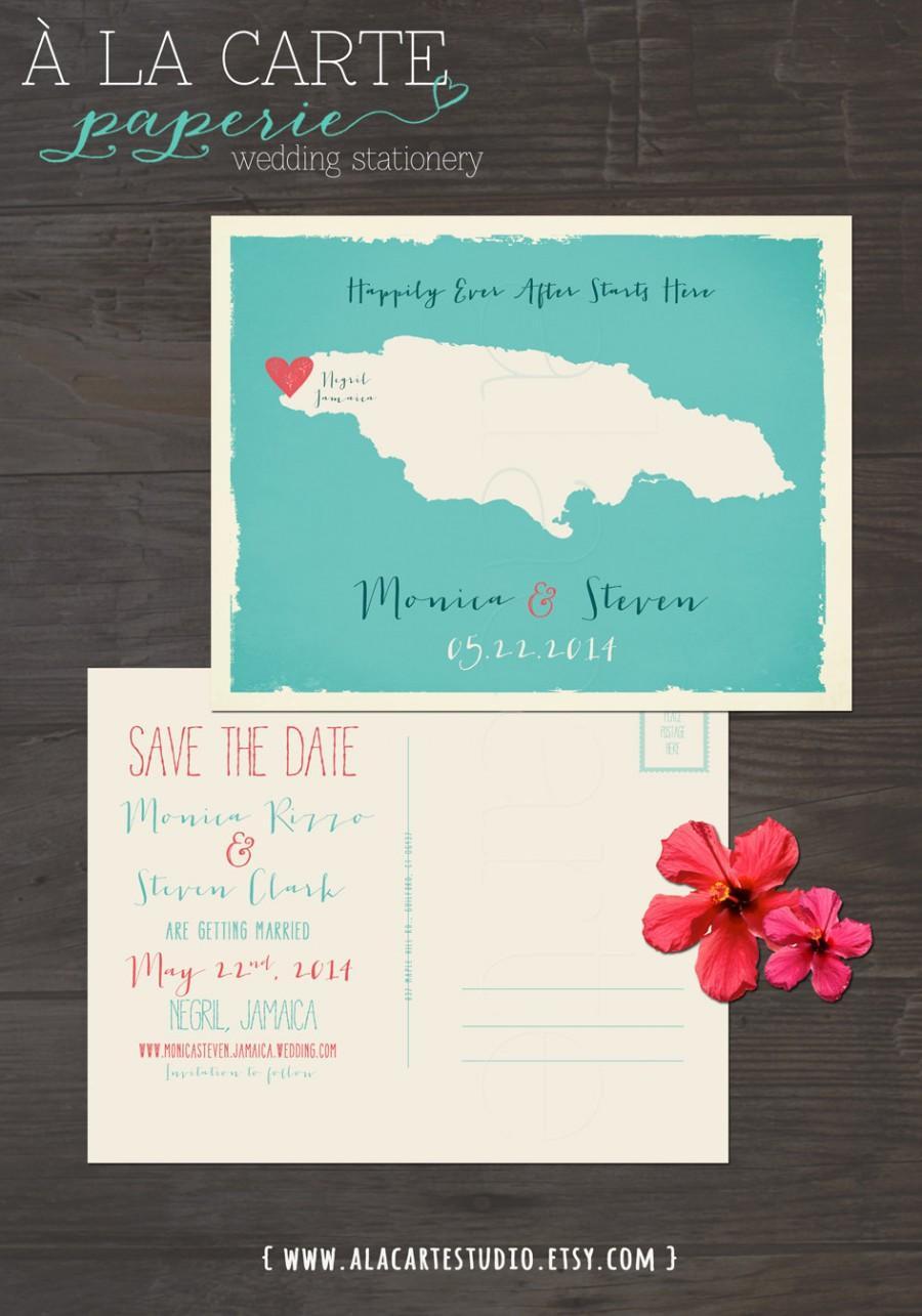 Wedding - Jamaica  - Save the Date Postcard - Printed Wedding Stationary