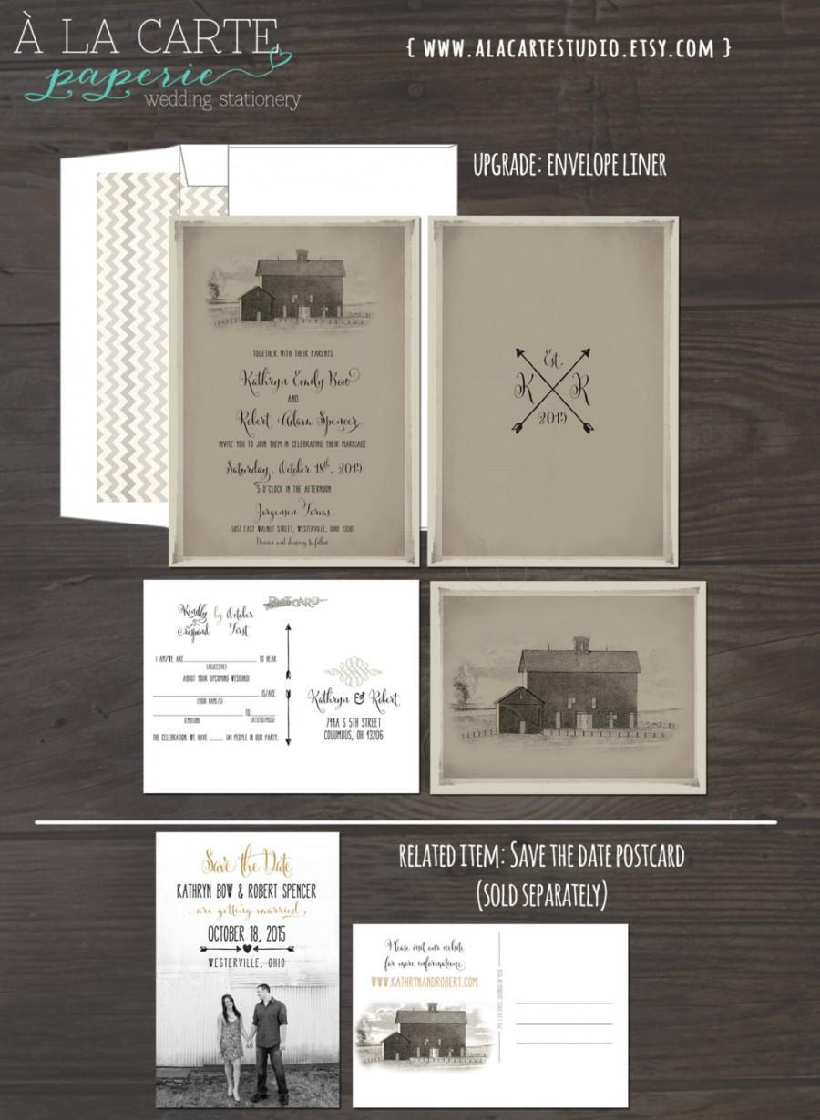 Mariage - Vintage Barn Wedding Invitation and RSVP postcard