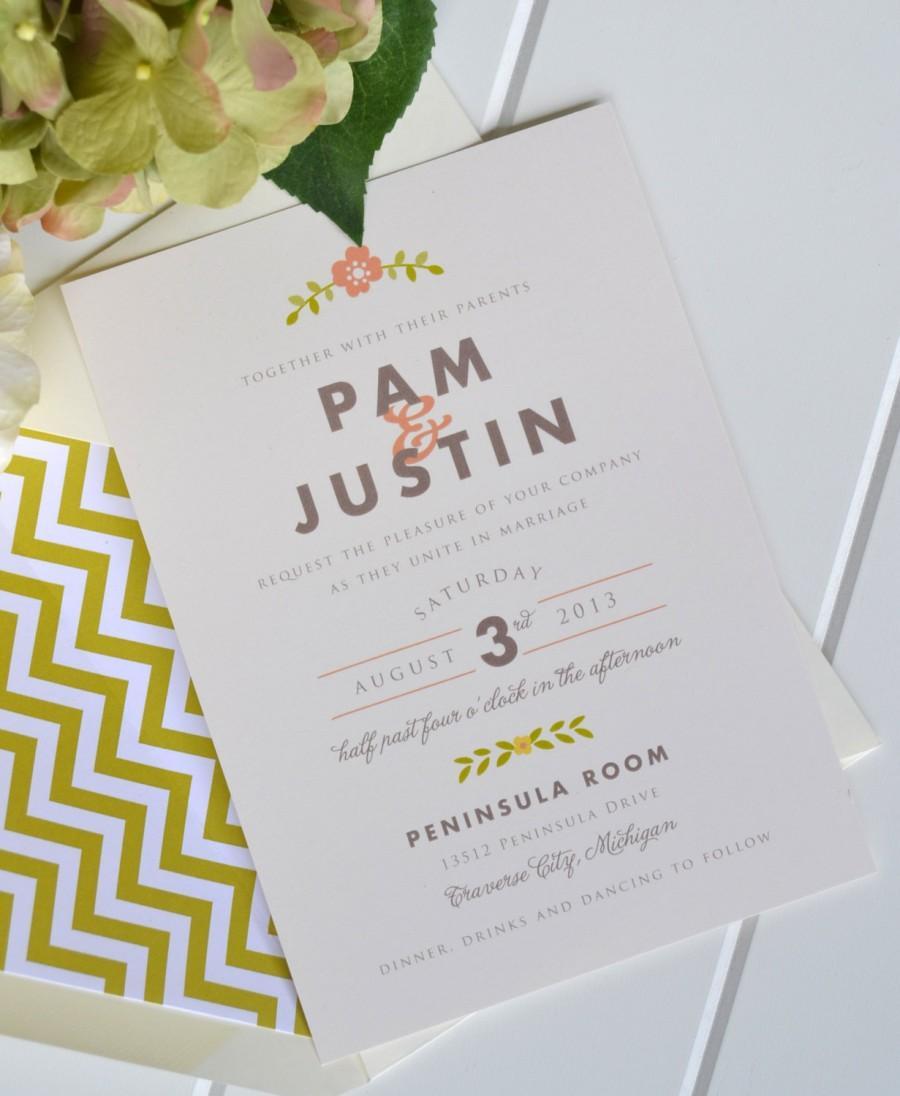 folk blossom wedding invitation as seen on country livingcom jpress designs floral letterpress simple classic modern custom