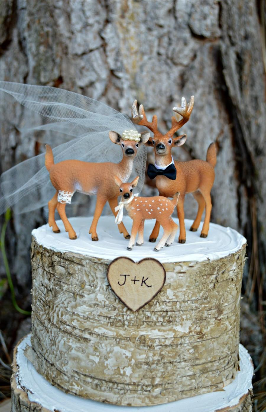 Wedding - Deer family wedding cake topper-Camouflage-buck-doe-family-Hunting wedding cake topper-Deer bride and groom-Hunting-Buck-Wedding Cake Topper