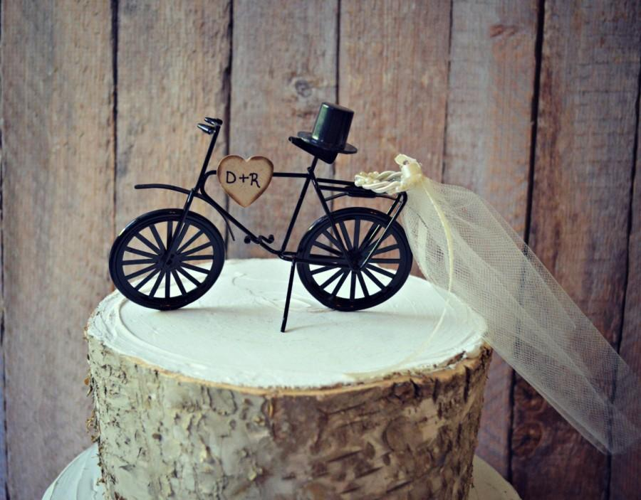 Mariage - Bicycle-wedding-cake topper-sports-grooms cake-bride-groom-rustic-bicycle wedding topper-ivory veil-initials-custom-bike-biker-bike rider