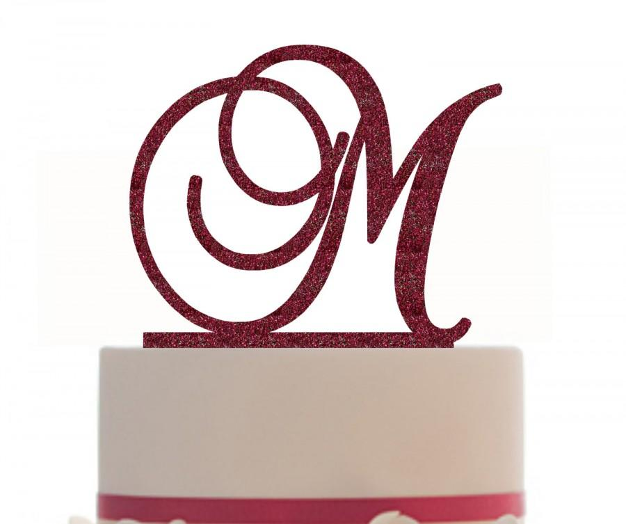 Hochzeit - Wedding Custom Cake Topper With Your Initial , choice of color and a FREE base for display