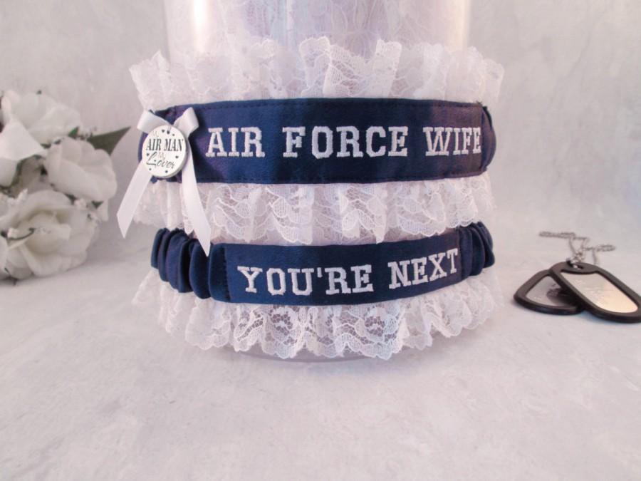 زفاف - Air Force Wedding Garter Set - Military Garters - Air Force Wife Garter - You're Next Garter - Something Blue.