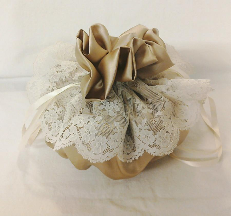 Mariage - Wedding Drawstring Pouch  - Bridal Purse - Communion- James Hare Imperial Silk Iced Coffee with Nottingham Scallop Lace