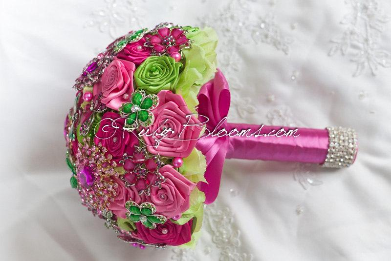 Crystal Hot Pink Wedding Brooch Bouquet. Deposit \
