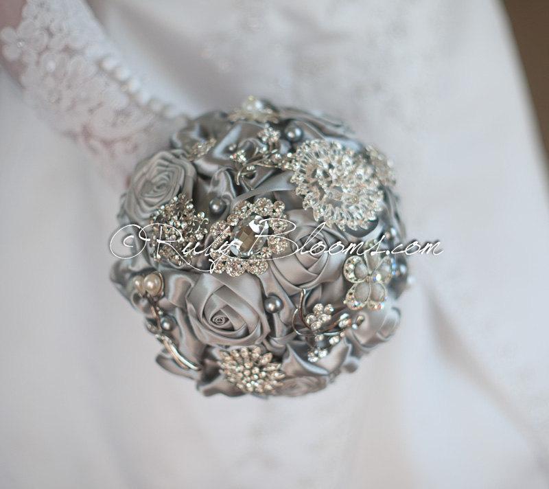"""Mariage - Crystal Silver Grey Wedding Brooch Bouquet. """"Sterling Silver"""" Heirloom Pewter Wedding Brooch Bouquet. Bridal Broach Bouquet Ruby Blooms"""
