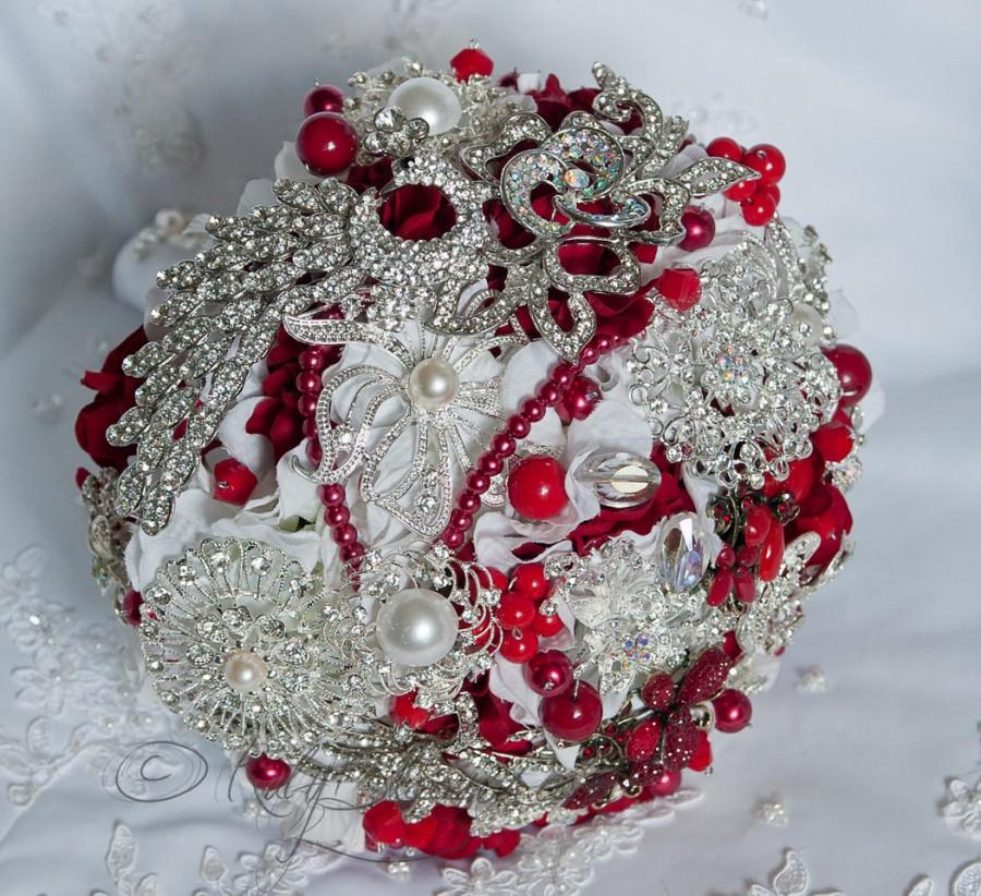Crystal silver white and red wedding bouquet deposit berry in crystal silver white and red wedding bouquet deposit berry in blooms jewelry bridal silk bouquet rhinestone silk brooch bouquet mightylinksfo