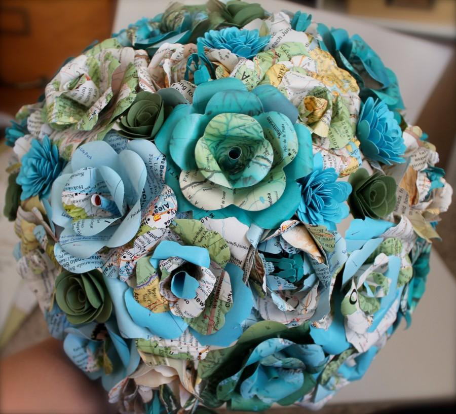 Свадьба - Rose and peony map paper flower bouquet // National Geographic map bouquet