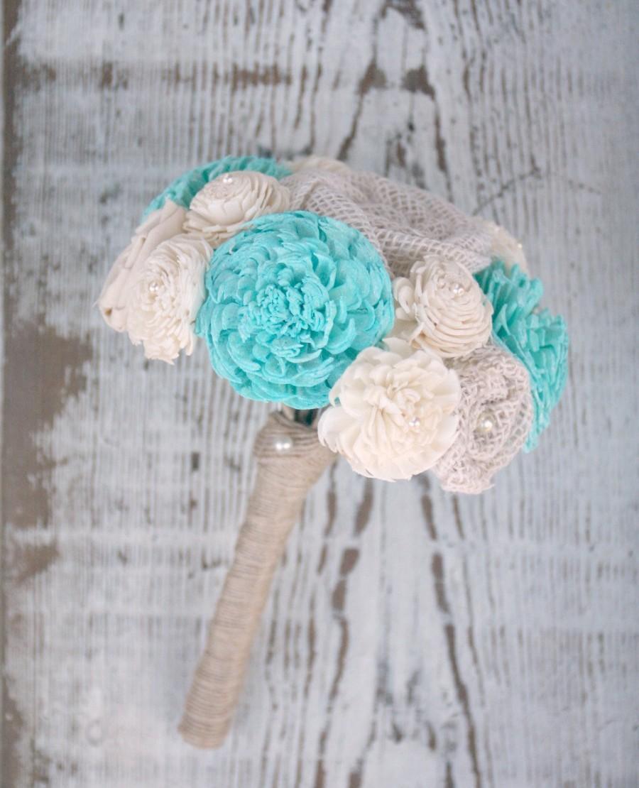 Свадьба - Small Bridesmaids Hand Dyed Aquamarine Sola Wood Wedding Bouquet - Mixed Ivory Wood Flowers, Fabric Rosettes, Burlap, Cream, Light Aqua