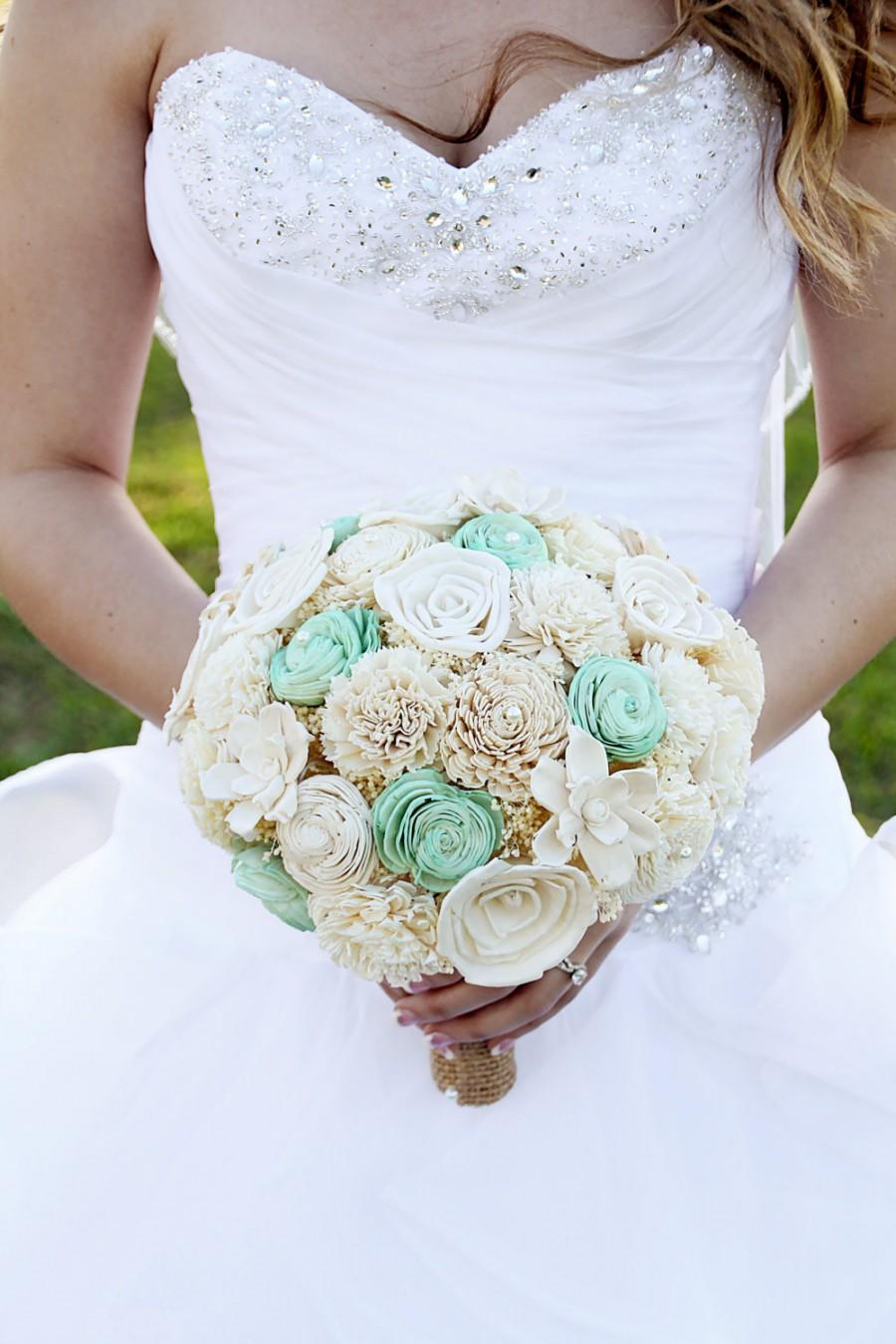 زفاف - Handmade Wedding Bouquet, Sola wood Bouquet, Burlap Mint Bouquet, Alternative Bouquet, Mint Bouquet, Sola flowers, Wood Bouquet