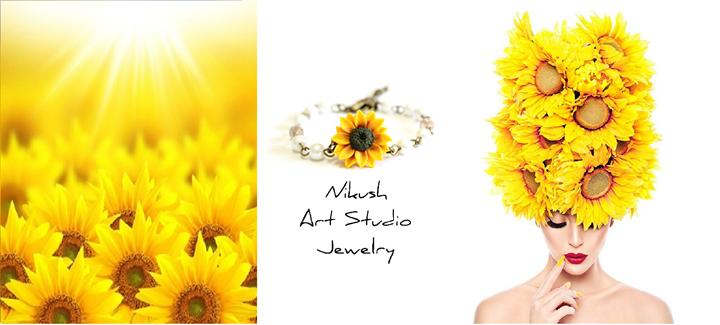 Wedding - Yellow Sunflower and Pearls Bracelet, Sunflower