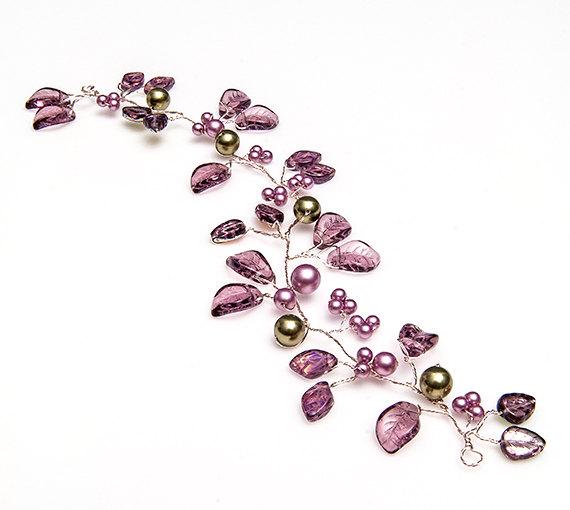 زفاف - Purple Bridal Hair Vine, Bridal Hair Accessory, Purple Nature Hair Vine, Amethyst Bridal Head Piece